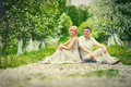 Apple tree garden beautiful couple in Royalty Free Stock Photo