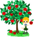 Apple tree a girl who stands still under the Royalty Free Stock Images