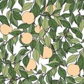 Apple tree. Hand drawing with apple tree branches. Seamless decorative pattern Royalty Free Stock Photo