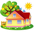 Apple-tree and house Stock Photos