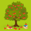 Apple tree knowledge on green background Royalty Free Stock Image