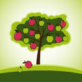 Apple tree picture of trees in cartoon style Royalty Free Stock Photos