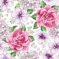 Apple tree, roses, hydrangea flowers petals and leaves in watercolor style on white background. Seamless pattern for