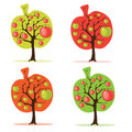 Apple tree set Royalty Free Stock Photos