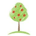 Apple tree sketch vector Royalty Free Stock Photo