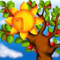 Apple tree and sun design with Royalty Free Stock Photos