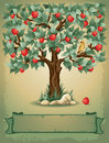 Apple tree vintage background with and place for your text Stock Images