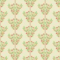 Apple trees orchard seamless vector ornamental pattern on a light background