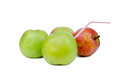 Apple with a tubule Royalty Free Stock Photo