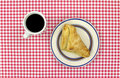 Apple turnover pastry with coffee Stock Image