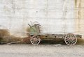 Apple warehouse old orchard delivery wagon against a cold storage wall in the wenatchee washington area Stock Image
