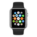 Apple Watch Sport Silver Aluminum Case with Black Sport Band Royalty Free Stock Photo
