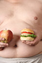 Apple whit burger large belly and Stock Photo