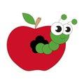 Apple worm cartoon. Royalty Free Stock Photo