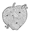 Apple with worm maze Stock Photos