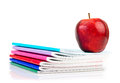 Apple on writing books school concept Stock Photography