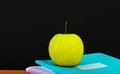 Apple on writing books school concept Royalty Free Stock Photography