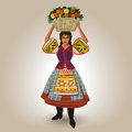 Applegirl girl in national costume holding basket of fruit on her head illustration Royalty Free Stock Image