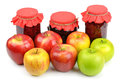 Apples and apple jam on white background Stock Images