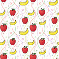 Apples and bananas seamless pattern design of Royalty Free Stock Image