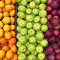 Apples and bergamots at the local market Stock Images