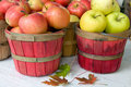Apples in bushel baskets Royalty Free Stock Image