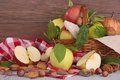 Apples composition and nuts on wood Royalty Free Stock Photography