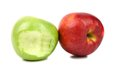 Apples green bitten and red isolated on a white background Stock Image
