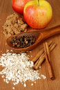 Apples and oatmeal with spices Stock Photo