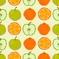 Apples and oranges seamless pattern. Pixel embroidery