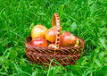Apples and pears in basket Royalty Free Stock Photo