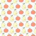 Apples and pears drawn in Japanese cartoon style seamless vector background