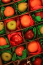 Fruit inside square boxes in tissue paper Royalty Free Stock Photo