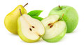 Apples and pears over white background Royalty Free Stock Images