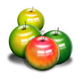Apples red and green with issolated background Royalty Free Stock Photos