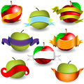 Apples with ribbon banners collection of different Stock Images