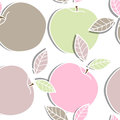 Apples seamless background with drawing Royalty Free Stock Image