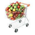 Apples in a shopping cart Stock Images