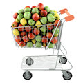 Apples in a shopping cart Royalty Free Stock Image