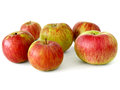 Apples six fresh on white Royalty Free Stock Images