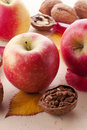 Apples and walnuts Royalty Free Stock Photo
