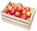 Apples in wooden box Royalty Free Stock Photos