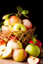 Apples on wooden table Royalty Free Stock Images