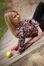 Apples young woman relaxing in park Royalty Free Stock Photo