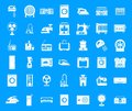 Appliances icon blue set vector Royalty Free Stock Photo
