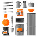 Appliances And Kitchen Utensil Icons Set Royalty Free Stock Photo