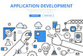 Application app development concept flat line art vector