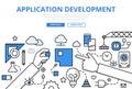 Application app development concept flat line art vector