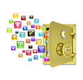Application icons in the open safe isolated on white background Stock Image