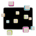Application icons surround pad flat srceen colorful a black glossy computer Stock Image